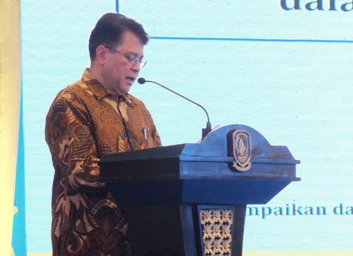 Deputi Bidang pengembangan regional Bappenas RI Rudy Soepriadi saat menyampaikan pidato