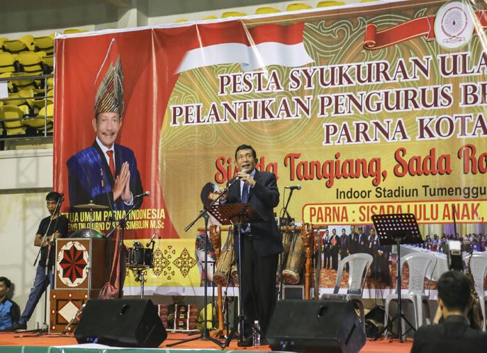 Ketua Umum Parna Indonesia Letjen TNI (Purn) Corner Simbolon saat memberikan kata sambutan