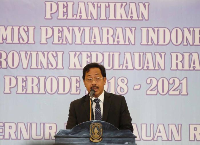 Gubernur Kepri Nurdin Basirun saat menyampaikan pidato