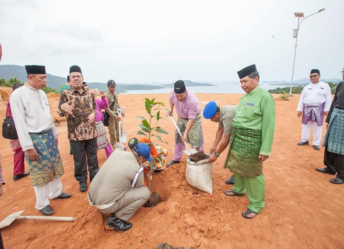 Bupati Kabupaten Kepulauan Anambas menanam pohon di pekarangan kantor bupati Anambas