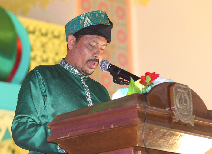 Sekretaris Daerah Kabupaten Kepulauan Anambas, Sahtiar yang juga menjabat Ketua Pelaksana MTQ ke-V memberikan amanah pada penutupan MTQ ke-V.