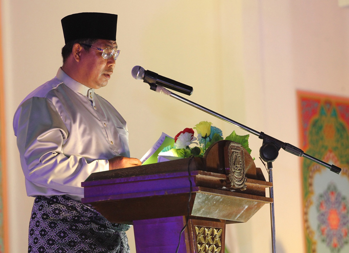 Bupati Kabupaten Kepulauan Anambas, Abdul Haris menyampaikan kata sambutan pada pembukaan MTQ ke-V